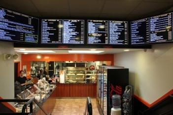 Princeton Pi and Yogurt cafe Princeton NJ food menu pizza display