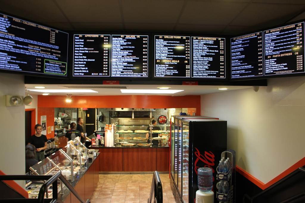 Princeton Pi and Yogurt cafe Princeton NJ food menu pizza display