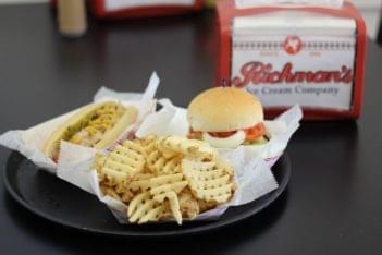 Richman's Ice Cream Company Brigantine NJ Burger fries hotdog