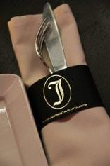 just restaurant place setting fork knife napkin