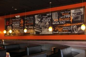 1000 Degrees Pizza Somerdale NJ pizzeria booths wall typography photos