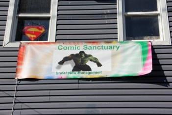 Comic Sanctuary New Brunswick NJ store front banner