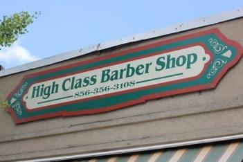 High class barbershop Merchantville NJ store front sign