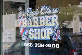 High class barbershop Merchantville NJ window sign