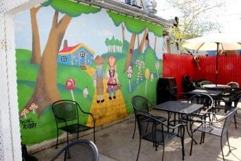 Hub City Subs 'n Grill New Brunswick NJ hansel and gretel mural patio