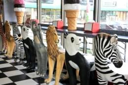 Ice Cream Parlour Cherry Hill NJ jumanji animal chairs lion panda zebra elephant giraffe