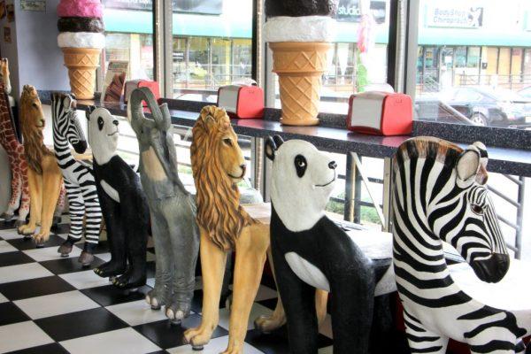 Ice Cream Parlour Cherry Hill NJ jumanji animal chairs lion panda zebra elephant giraffe