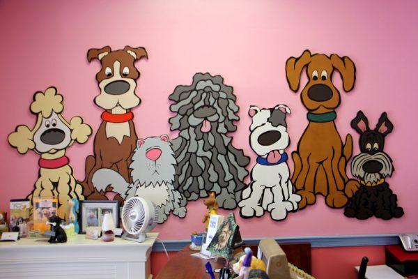 Jack & Emily's Pet Salon Voorhees Township NJ cartoon dogs wall decoration