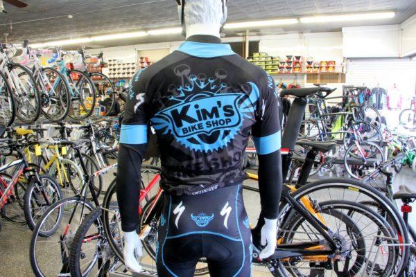 Kim's Bike Shop New Brunswick NJ mannequin cycling spandex suit logo