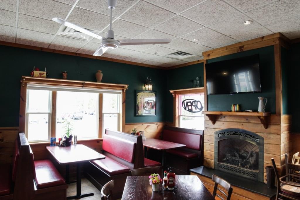 Pancho O Malleys Narragansett RI Irish Pub with Mexican Grub booths fireplace