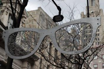 Providence Optical Providence RI eyeglasses frames sculpture sign