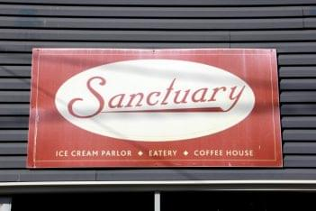 Sanctuary New Brunswick NJ ice-cream parlor eatery coffee house sign