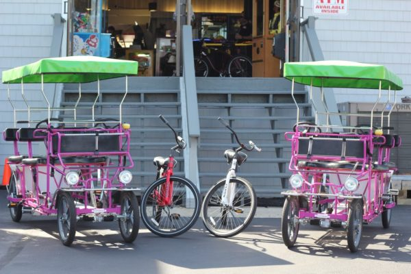 Surf Buggy Centers 12th St Ocean City NJ two purple beach pedal buggy