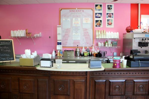 Vincent's Ice Cream Shop Mt Holly NJ counter