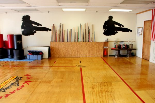 Yi's Karate of Cherry Hill NJ dojo bo staff jump kick silhouette