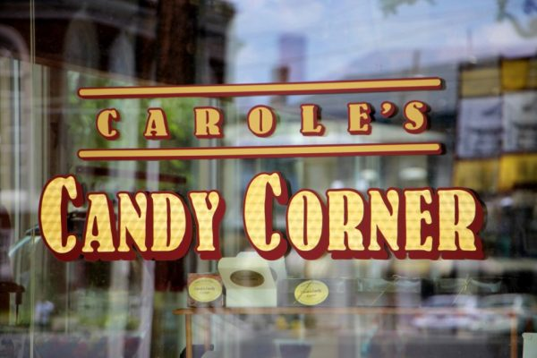 Carole's Candy Corner Penny Candies Novelty's and Gourmet Confections Haddon Heights NJ window sign