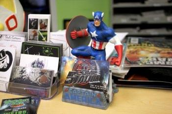 The Comic Station Haddon Heights NJ Captain America First avenger statue business card