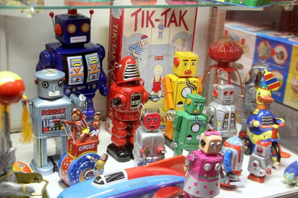 Happy Hippo Toys Toy Store Moorestown NJ tin robots toy display