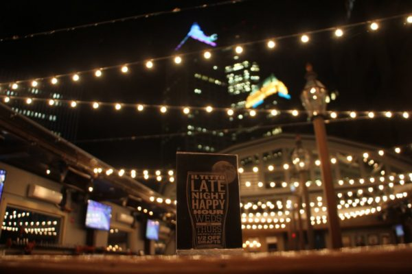 Il Tetto at Sienna Mercato Pittsburgh, PA rooftop beer garden biergarten table top sign