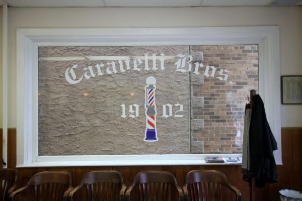 Caravelli Brothers Haddonfield NJ Barber Shop window sign