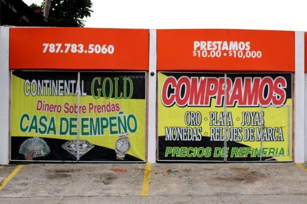 Continental Gold Pawn Shop San Juan Puerto Rico side wall sign