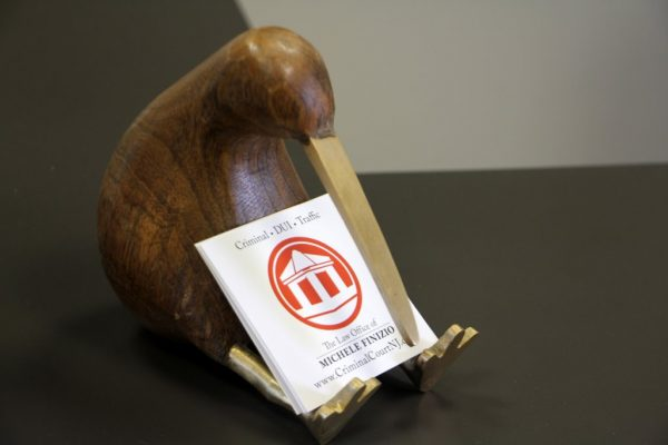 Law Offices of Michele Finizio Moorestown NJ wooden kiwi business card holder