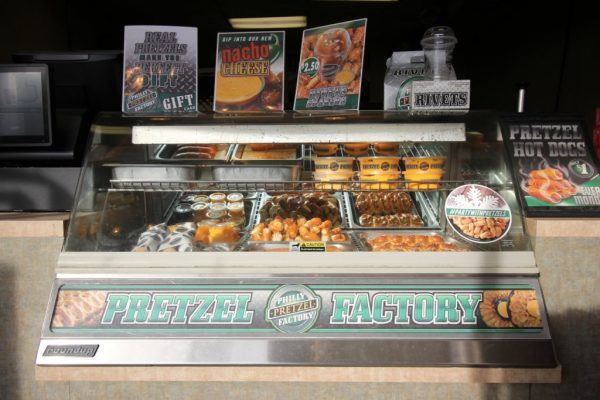 Philly Pretzel Factory Cherry Hill NJ pretzel counter display