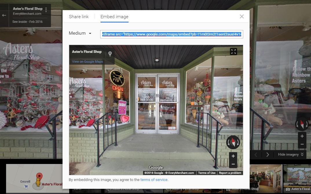 how to embed google street view tour - step 5 - embed image html code