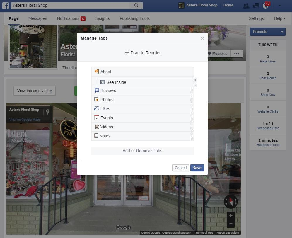 how to embed google street view tour - step 9 - re-order tabs