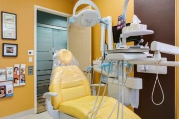 dentist chair in dental office exam room