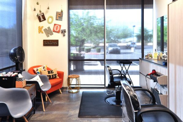 Sola Salon Studios Avondale AZ beauty salon orange chair