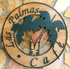 Las Palmas Cafe at Copmarina Guánica, Puerto Rico logo sign
