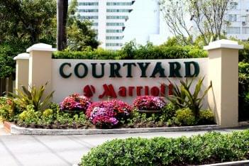 Pool Bar Courtyard Marriott Carolina, Puerto Rico hotel entrance sign