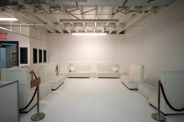 Walnut Loft Uptown Rec Room Bronx NY vip lounge area section white couches