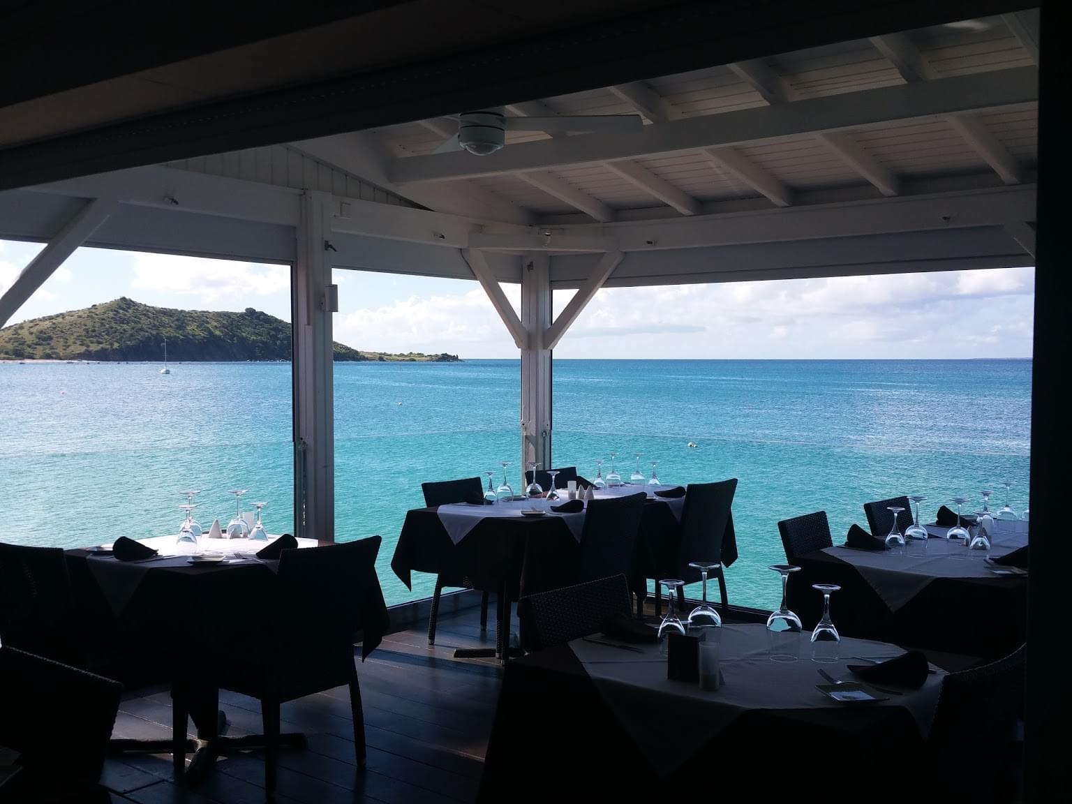 Ocean 82 restaurant in Grand-Case, Saint Martin patio seating ocean view