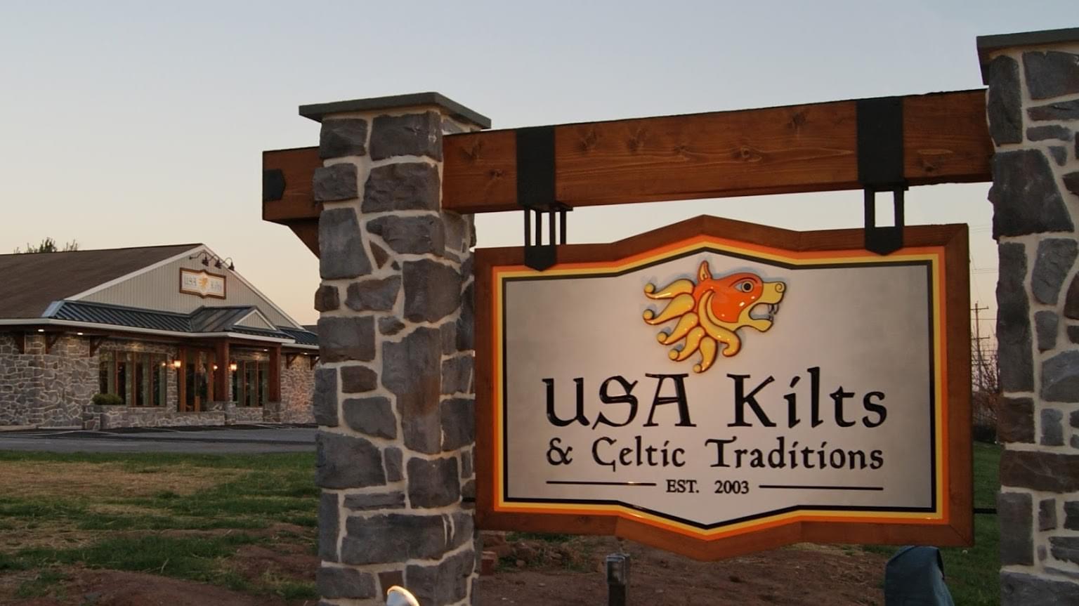 USA Kilts Spring City PA sign