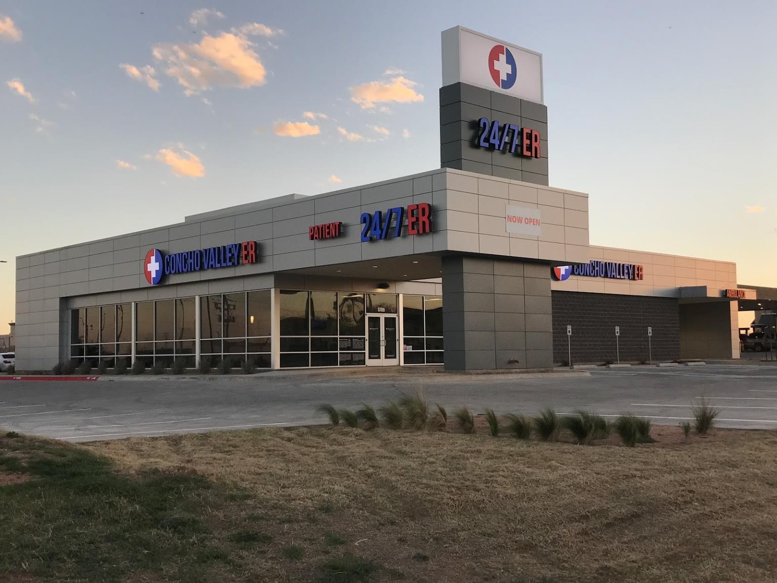 Concho Valley ER 24 7 Emergency Center San Angelo, TX exterior sunset