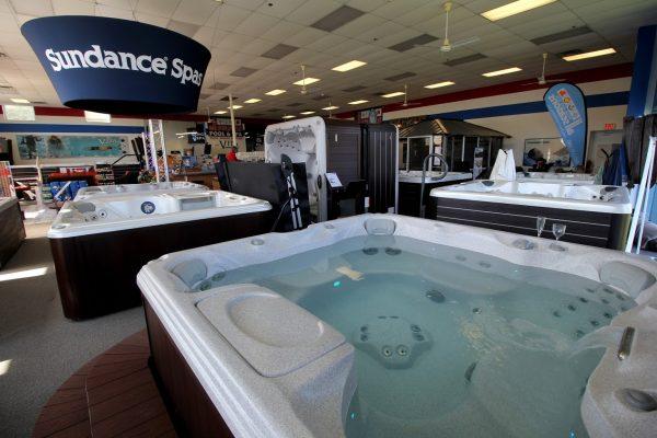 All Seasons Pool & Spa Marlton, NJ Hot Tub Store display