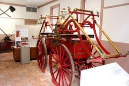 Friendship Firehouse Alexandria, VA Museum wooden fire wagon carriage