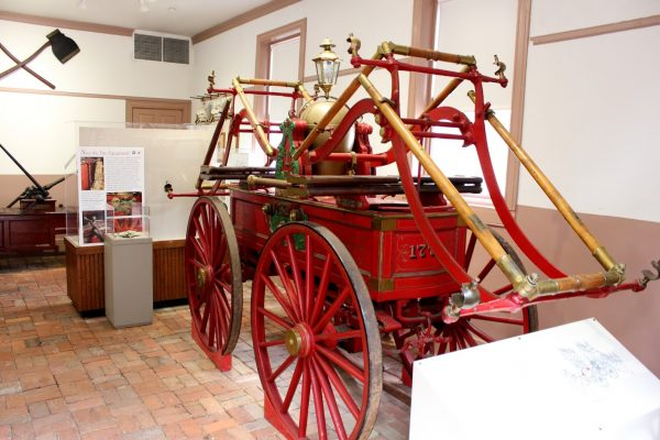 Friendship Firehouse Alexandria, VA Museum wooden fire wagon carriage