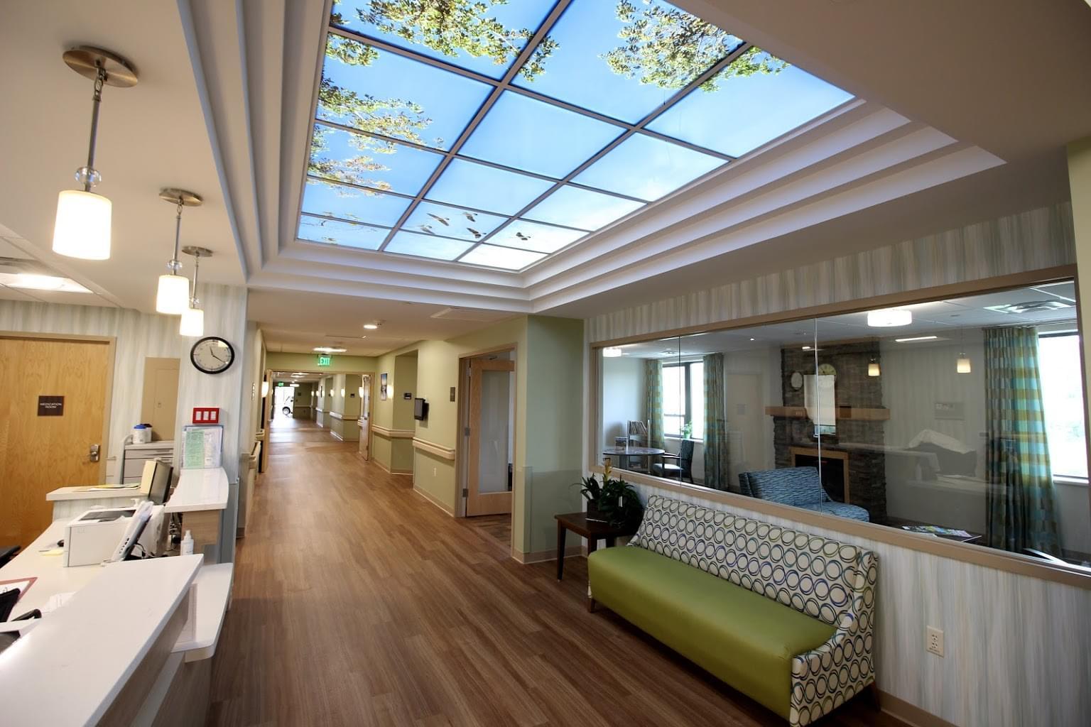 Homestead Rehabilitation and Health Care Center Newton, NJ Rehabilitation Center hallway nurses desk sky light