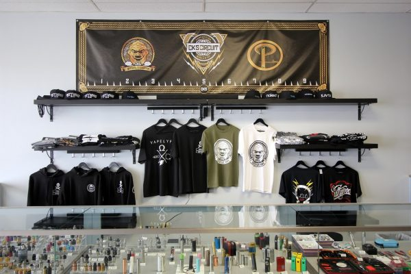 Popie's Vapor Lounge Blackwood NJ washington township tee-shirt display wall