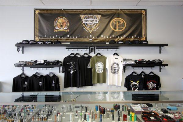 Popie's Vapor Lounge Blackwood NJ washington township tee-shirt display wall