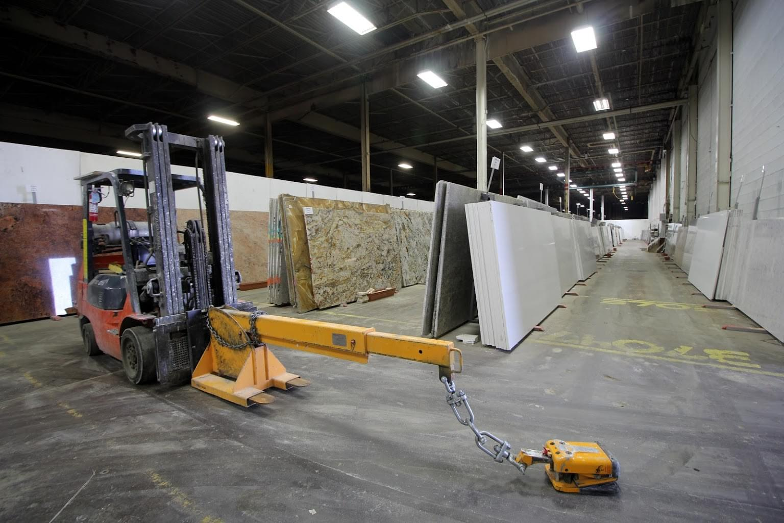 Onur Marble & Granite Building Materials Store in Fairless Hills, PA forklift marble slabs warehouse