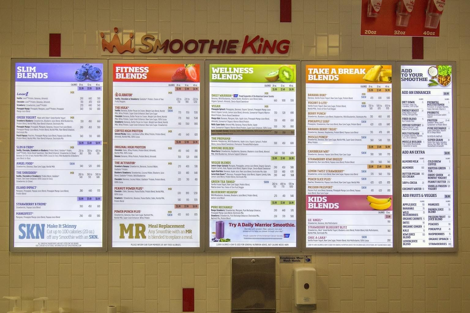 Smoothie King Juice Shop in Marlton, NJ menu