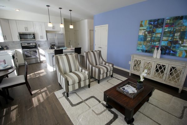 apartment living room and kitchen at The Forge at Glassworks Apartment Complex in Cliffwood, NJ