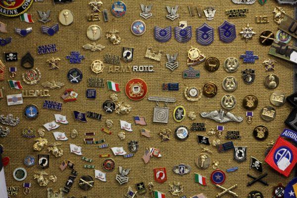 Grandpops Army Navy supply store in Swedesboro, NJ lapel pins