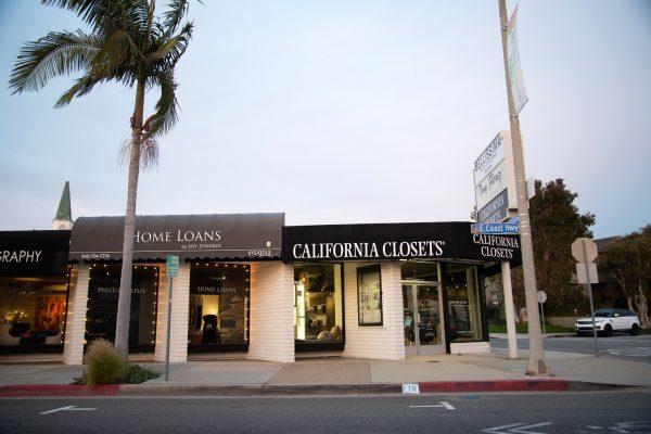 California Closets Interior designer in Corona del Mar, CA storefront at sunset