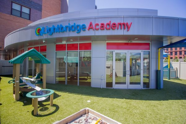 Lightbridge Academy pre-school in Hoboken, NJ sign