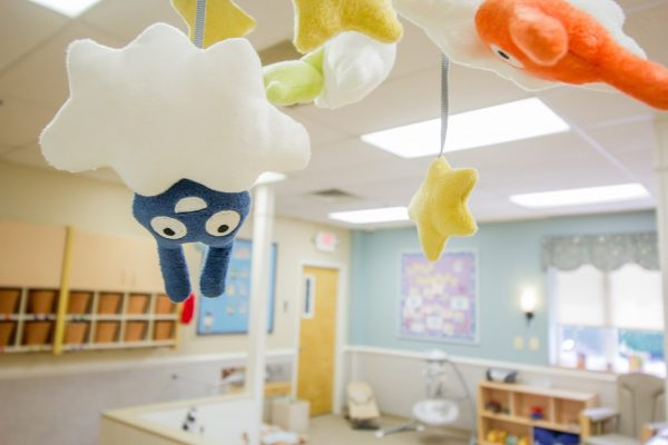 Lightbridge Academy pre-school on route 27 North Brunswick, NJ baby mobile character hanging from cloud upside down